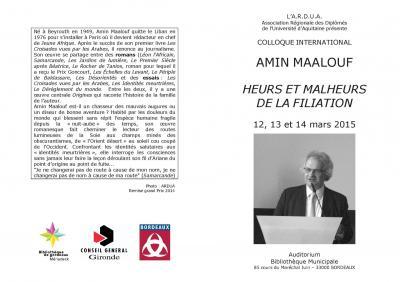 Colloque A Maalouf programme 2015 ARDUA 1